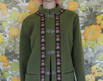 Norwegian Wood - 1960s moss green coat - Firda wool coat - green norwegian wool coat- pewter clasps - folk embroidery trim - 60s wool jacket