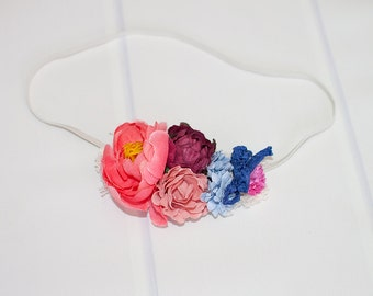 Country Berry Days - dainty headband in coral pink, salmon pink, wine, country blue, royal blue and fuchsia   (RTS)