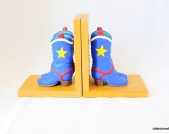 Bookends, Cowboy Boot Child's Bookends, Blue Bookends, Wood Bookends, Child's Room