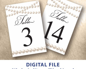 Pearl table numbers printable 4x6 Ivory pearl wedding table number 1-30 Elegant table numbers Instant download DIY wedding Script font