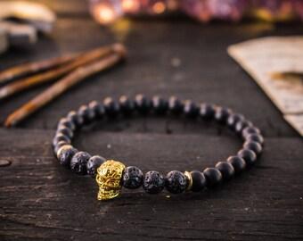 6mm - Matte black onyx & lava stone beaded stretchy bracelet with gold skull, black bracelet, mens bracelet, bead bracelet, skull bracelet
