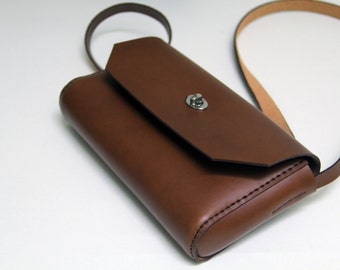 100 % handmade,  leather brown bag, GENATI handstitched small bag. vegetable tanned leather