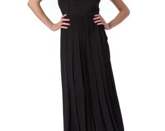1940s Black Silk Crepe Pleated Sleeveless Maxi Dress SIZE: S/M, 6