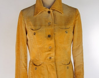 70s hand sewn women's corduroy jacket with groovy pockets in golden