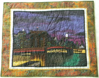 New York City-Brooklyn Bridge, Evening View, Fiber Art Quilt, City Landscape
