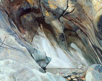 Pebbles in rock pool, oil on canvas Giclée print