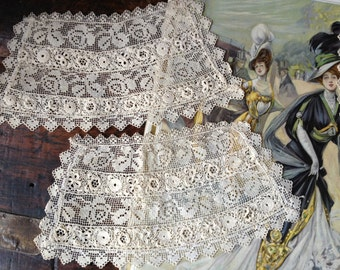 Irish Crochet Lace Collar Stole and Cuffs Hand Worked Antique c 1800s