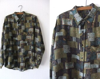 Pattern Block Silk Shirt - Olive Green 90s Vaporwave Club Kid Baggy Long Sleeve Button Down Party Shirt - Mens Large