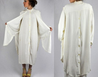 SALE Vintage 80s Off White Maxi Tunic Dress with Vest Attached Button Up Back Button Down Front Asymmetrical Middle Eastern Boho size M - L