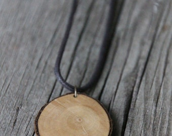 Wood Slice Necklace - Tree Ring Necklace - Wood Slice Pendant - Reclaimed Wood Pendant - Rustic Wood Jewelry - Bohemian Necklace