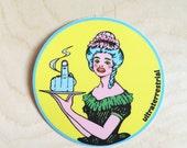 Middle Finger Waitress Sticker- Weatherproof - large decorative sticker