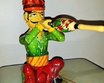 Rare Vintage India Snake Charmer Channapatna Lacquer Figurine