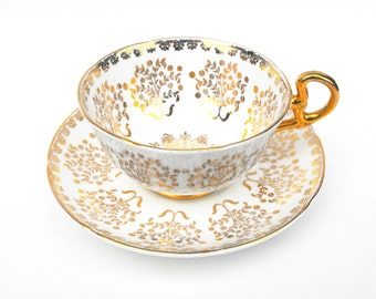 1930s Golden Age Tea Cup & Saucer Set Royal Grafton Bone China - Vintage English Gilded Gold Damask Floral Single Place Setting Hostess Gift
