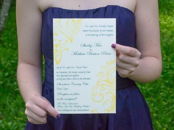 Sandra Invitation Suite, Yellow & Teal Invitation Kit,  Floral Wedding Invites