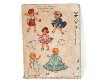 Vintage Sewing Pattern Doll Clothing McCalls #1898 Ginny and Muffie Doll Wardrobe