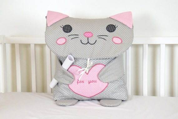 cat pillow, kids pillow, nursery pillow, animal pillow, nursery decoration, plush cat,  cat  bedding, cat toy