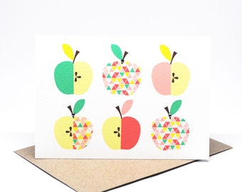 Blank Card - Apples Geometric - BLA044 - Could be used for Thank You, Congratulations, Notecards, Teacher Cards etc