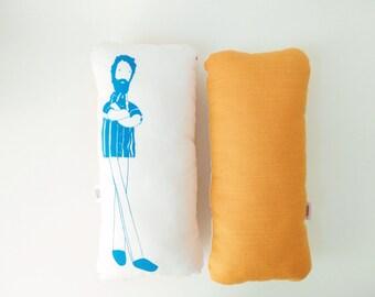 Bearded man doll pillow, illustrated blue orange cushion, softie, graphic pillow plush, cool decor, original and fun boyfriend kids gift