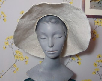 Vintage High Crown Wide Brim White Hat Vintage Floppy Hat Renee Paris Vintage French Sun Hat