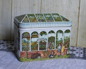 Silver Crane Co Tin - Greenhouse - Conservatory - Peaked Roof - 1994 - Collectibles - Storage Tin - Vintage - Made in England