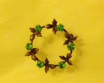 SALE - Delicate Green Rhinestone Vintage Brooch