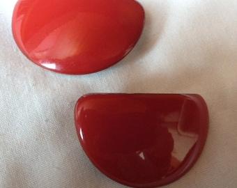 Vintage Red Enamel Pierced Earrings