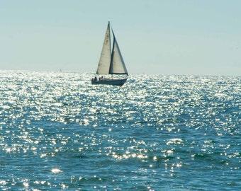 California Beach Sailboat Picture, Ocean Photo, Redondo Beach CA, Boat Photography, 8x10 Photo Art, Frame Option