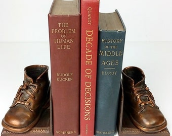 Vintage Bookends Bronze Shoe Bookends, Bronze, Metal Bookends