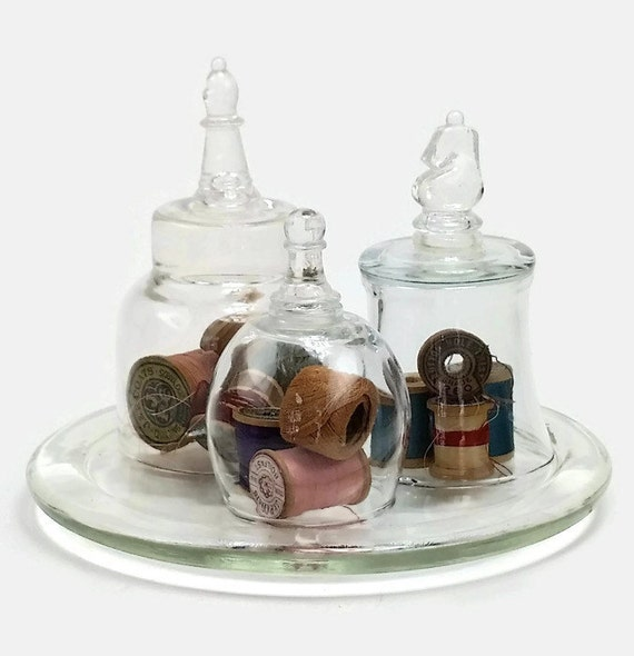 "Vintage Glass Cloche 3 Piece Set Chess Piece Handle On Glass Base, Glass Dome, Bell Jar-""Ships International"" Email For Rates"