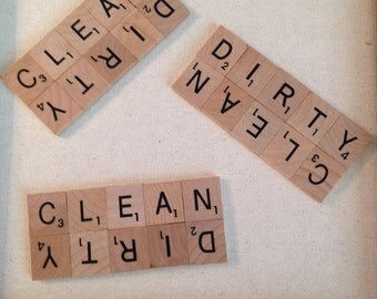 clean/dirty scrabble dishwasher magnet
