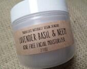 Vegan-Lavender Basil & Neem ACNE-FREE Facial Moisturizer 2oz.(No butters-anti bacterial-antiseptic properites)