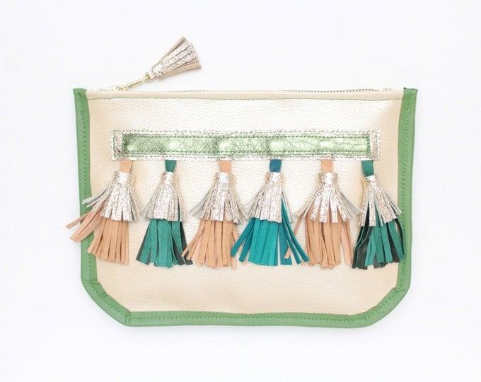 Leather clutch bag. Shoulder purse. Statement purse. Crossbody bag. Metallic natural leather. Natural leather tassels. Boho bag. /CHIQUITA 5