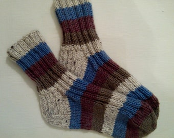 Hand Knit Wool Socks -Colorful Socks for Women - Knitted Socks- Size S,M,L