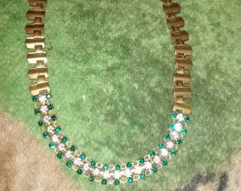 Sparkling Green Rhinestone  Necklace