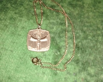 Christ Medal Aluminum Gold Tone Hallmarked Germany