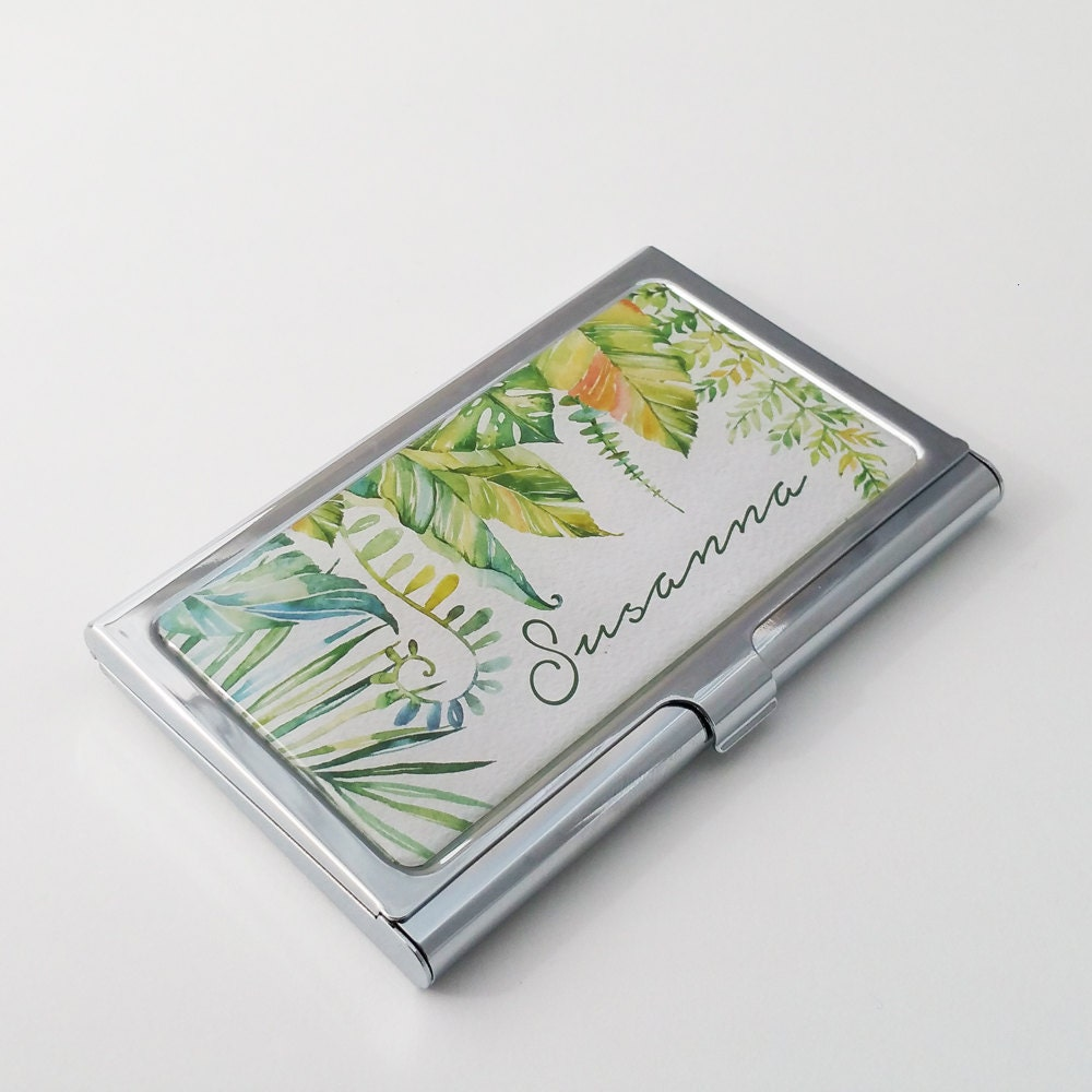 Personalized business card holder custom botanical business for Unique business card cases