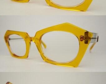 Vintage Traction Productions France Sunglasses Eyeglasses Frames Optical Eyewear Yellow Orange Clear Plastic Angular Extravagant Eccentric