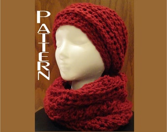 Crochet PATTERNS Slouchy Beanie Cowl Set Chunky Chain Design  Two Pattern Bundle