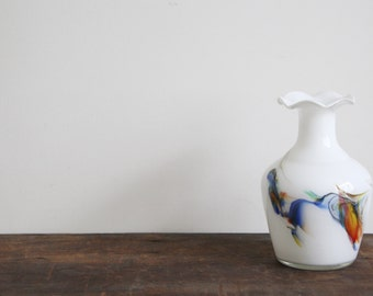 SALE - Vintage Glass Vase - Gorgeous Unusual Vintage Glass Vase with Colourful Smoke Swirl Effect