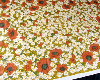 "AWESOME DAISIES Vintage Irish Linen Daisy Screen Print Heavy Linen Cotton Tablecloth  52"" x 71"" NOS"