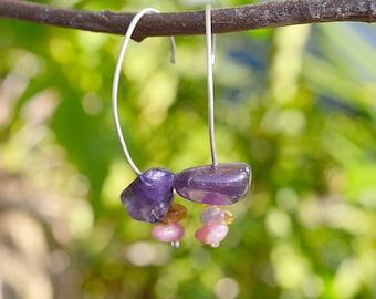 Sterling Silver Amethyst and Tourmaline Earrings handmade simple drop dangle earrings healing gemstones
