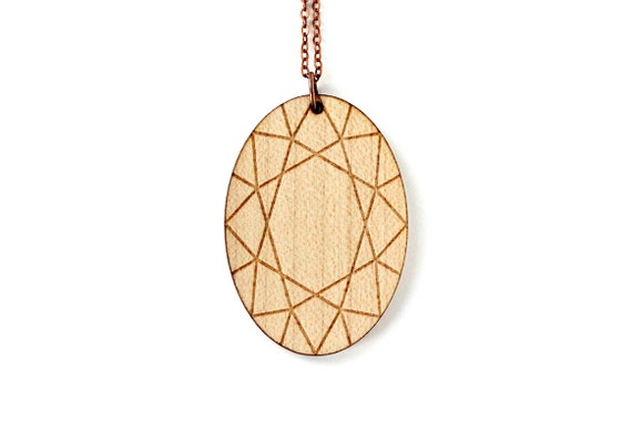 Oval diamond necklace - wooden pendant - fake precious stone jewelry - bling graphic jewellery - lasercut maple wood