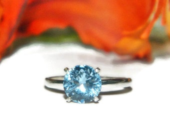 Aquamarine Solitaire, Birthstone Ring, Right Hand Ring