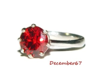 Garnet Ring, Set In Sterling Silver, Ring With 8mm Round Stone