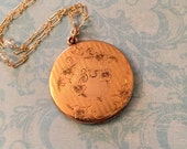 Antique Locket, Large Wightman and Hough Locket, Aquamarine Chain, No Monogram, Gift for Her