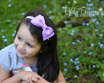 Large Lavender Bow Headband. Girls Lavender Headband. Baby Lavender Bow Headband. Baby Bows Headband. Hairbow. Easter Hair Bow.
