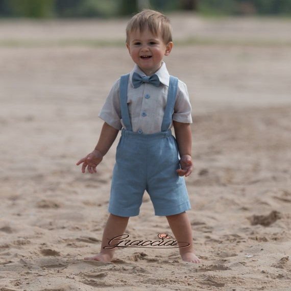 Baby Boy Linen Suspenders Suit Ring Bearer Outfit Boy First