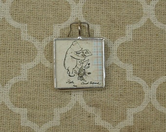 Winnie the Pooh and Piglet storybook pendant charm soldered glass art charm pendant
