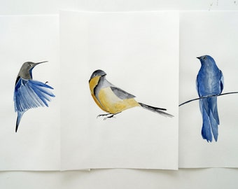 Set of 3 original watercolor paintings. Birds art. Birds in watercolor. Modern watercolor. Blue bird. Bird art.