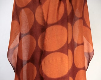 Pumpkin Wrap/Scarf Large Shibori Shawl on Wool/Silk